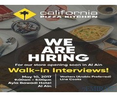 Walk In Interview for Waiters(Arabic Preferred) And Line Cook in Al Ain