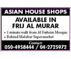 Shops for Rent @ Asian House in Frij Al Murar