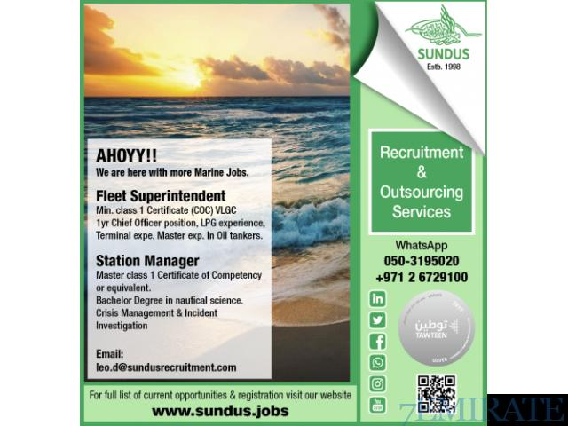 AHOYY!! We are here with more Marine Jobs  IN DUBAI APPLY