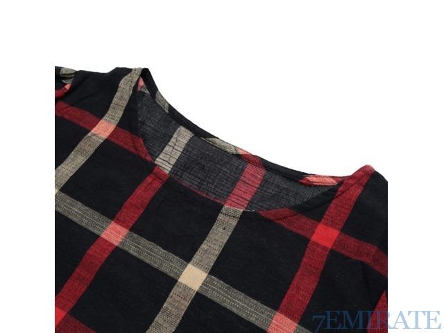 Spring Women Plaid Blouse O Neck 3/4 Sleeve Line Casual Shirt