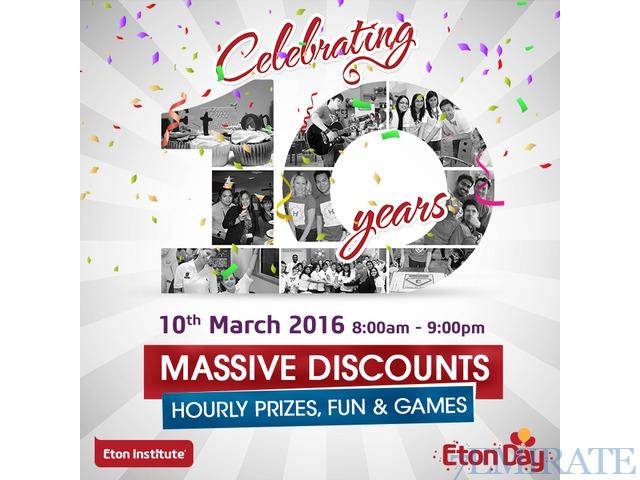 Get Massive Discounts & Fun Prizes at Eton Institute's 10th