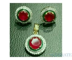 Zircon jewellery set gold plated.