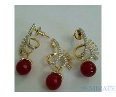 Zircon jewellery set gold plated