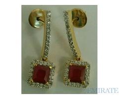 Zircon long earings gold plated